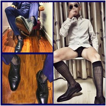 Men's slim stockings socks male gentleman gay smooth stockings in silk stockings sexy stocking business men in tube stripe socks
