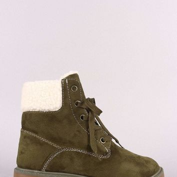 Bamboo Shearling Collar Vegan suede Lace-Up Lug Sole Work Boot