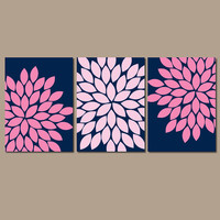 Navy Pink Wall Art Bedroom Wall Art CANVAS Bathroom Wall Art Navy Pink Nursery Pictures Flower Wall Art Flower Burst Dahlia Prints Set of 3