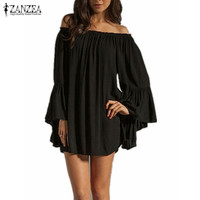 S-3XL 4 Color 2016 Summer Women Sexy Off Shoulder Slach Neck Chiffon Pleated Long Sleeve Loose Mini Short Dress Vestidos
