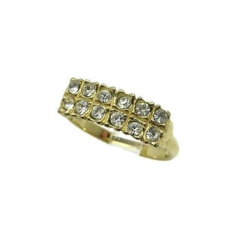 Multistone Faux Diamond Ring, Vintage Gold Plated Ring, Costume Jewelry Ring, Size 8.5