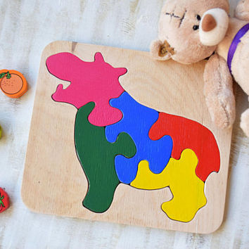 Wood puzzle hippo Montessori Toy wooden educational game Waldorf toys Africa animal baby toys wood puzzles Baby Shower Gift toddler learning