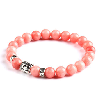 Natural Stone Bead Buddha Bracelet (Orange)