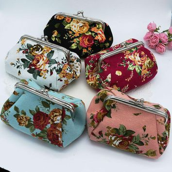 Floral Pattern  Feminine Leather Change Purse