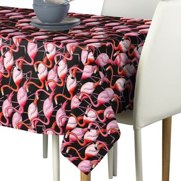 "Flamingo Flock Tablecloth 60""x 120"" Tropical Coastal Home Decor"