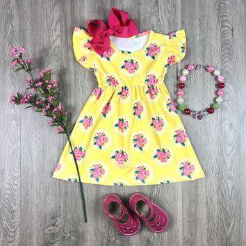 RTS Yellow Floral Dress D23