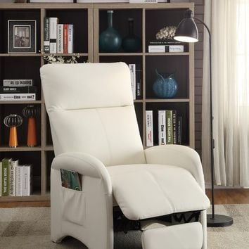 Modish Recliner With High Back and Side Pocket In White