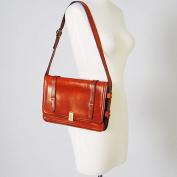 Vintage Messenger Purse 70s Cognac Sienna Leather Purse Hippie Boho Shoulder Bag