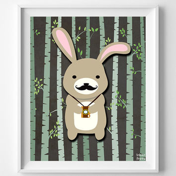 Animal Nursery Print, Woodland Rabbit, Rabbit Art, Wall Art, Animal Nursery Decor, Hipster Rabbit, Baby Room Print, Poster, Christmas Gift