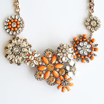 New Fashion Jewelry Orange Coral Bloom Bold Statement Crystal Color Flower Lattice Necklace, Bridal bridesmaid wedding party Birthday gift