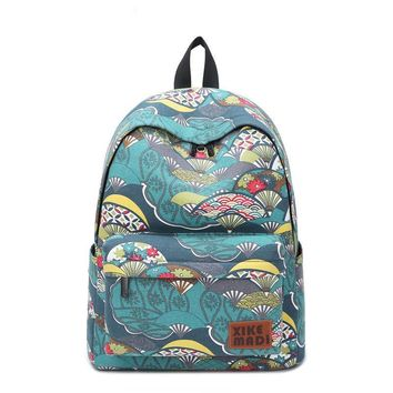 Korean Fashion Schoolbag Backpack Japanese Style School Bag Floral Canvas Backpack Student Bag School Backpack for girls