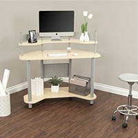 Calico Designs 55124 Study Corner Desk, Silver with Maple