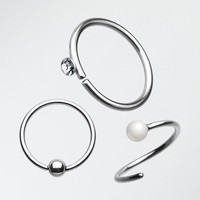 3 Pcs of Beaded Bendable Nose Hoop Pack