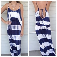 TIEDYE RUFFLE MAXI DRESS