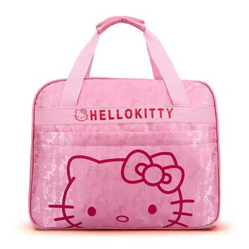Women Hello Kitty Tote Bags Young Lady Pretty Cartoon Bag Large Capacity Pink Nylon Handbag for Children Girls Birthday Gift