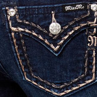 Miss Me Metallic Stitch Bootcut Jeans - Dark Wash