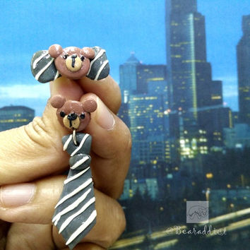 grey bear ties and bow earrings, polymer clay miniature bear, bear accessory, bear earrings, bear jewelry, bear jewelry, bear earrings