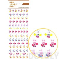 Bunny Rabbit Cheerleaders Animal Sticker Envelope Seal for Scrapbooking and Decorating