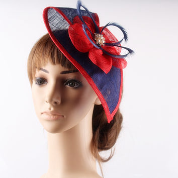 Multiple color elegant fascinator hair accesories teardrop sinamay base with brooch adorned millinery headwear cocktail hats