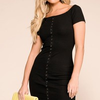 Get It Done Black Buttoned Bodycon Dress