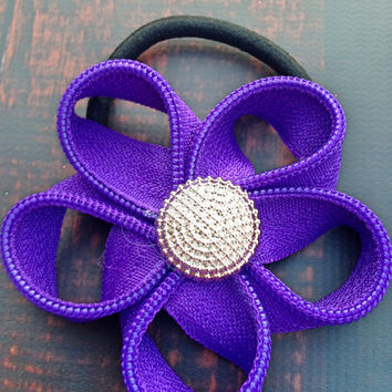 Purple Flower Hair Tie made from zippers, Girls hair accessories, flower elastic hair tie, flower pony tail holder