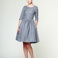 Boat Neck Checkered Linen Dress by Mrs Pomeranz