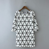 White Geometric Triangle Print Sleeve Dress Shirt