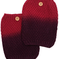 Women's Two Tone Burgundy / Red Ombre Button Boot Cuffs - Popcorn Pattern Knit Boot Sock Topper, gift, 2 Color Boot Cuffs
