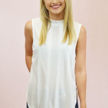 Sleeveless Ribbed Top - Ivory