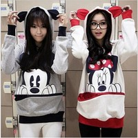 Kawaii Women Hoodies Mickey Cartoon Hooded Sweatshirts Female Loose Fleece Pullover Plus Size Harajuku Hoodies Outwear