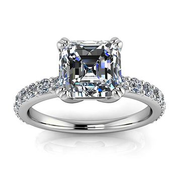 Asscher Cut Moissanite And Diamond Engagement Ring - Rebecca