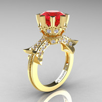 Modern Vintage 14K Yellow Gold 3.0 Ct Ruby Diamond Solitaire Engagement Ring R253-14KYGDR