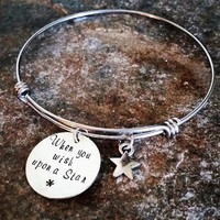 Disney - Bangle - Hand Stamped - Pinocchio -When you wish upon a star - Star - Quote - Bracelet