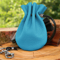 Small Blue Jewelry Pouch, Small Coin Wallet, For Her,