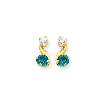Kids Synthetic Blue Topaz and CZ 14k Yellow Gold Drop Earrings