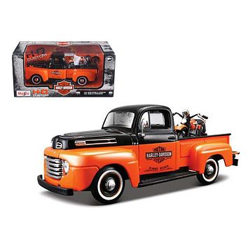 1948 Ford F 1 Pickup Truck Harley Davidson With 1948 FL Panhead Motorcycle Orange/Black 1/24 by Maisto