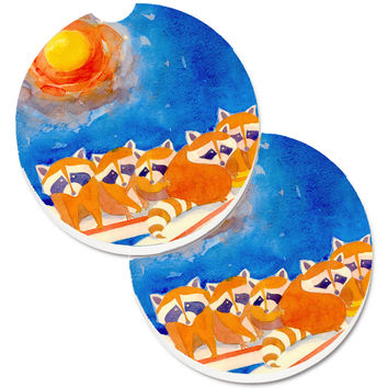 Raccoons on the railing Set of 2 Cup Holder Car Coasters 6009CARC