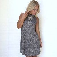 Memory Lane Knit Turtleneck Dress In Grey