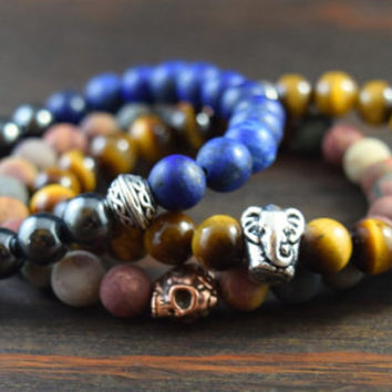 Men's Triple Stack Set with Matte Lapis Lazuli, Hematite, Tiger Eye, and Matte Red Creek Jasper. Men's Fashion. Lotus & Lava Bracelets.