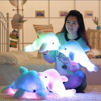 1pcs 45cm Dolphin PLush Luminous Plush Glowing Dolphin Doll Colorful Pillow Plush Toys Hot Colorful Doll Kids Children Gifts