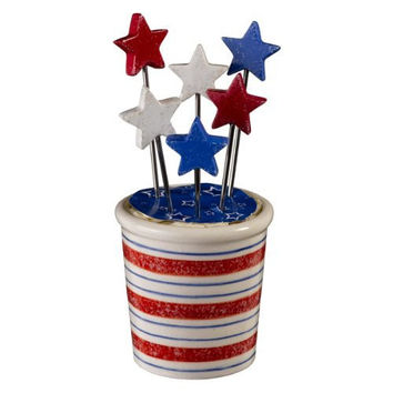 Stars and Stripes Star Appetizer Picks with Holder