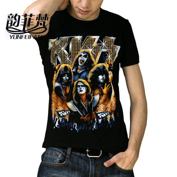 Fashion 3D design Kiss rock band printed hip hop t shirt men summer cotton good quality men t-shirt,black color tees