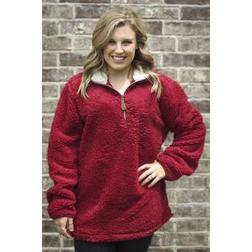 Girlie Girl Preppy C.C Burgundy Sherpa Pullover Jacket T-Shirt