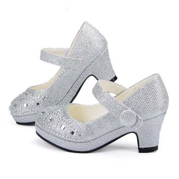 Shiny Round Toe High Heel Party Girls Glitter Shoes