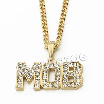 "Mens Iced Out Brass Gold MOB Charm Pendant w/ 5mm 24"" 30"" Cuban Chain A08G"