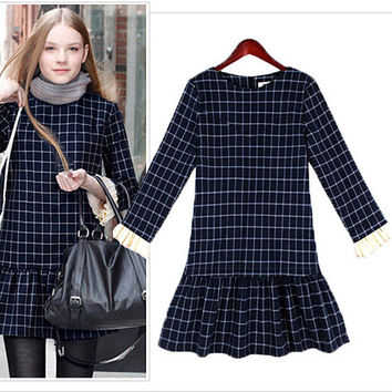 Plaid Ruffled Hem Loose Dress