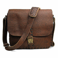 Rustic Men's Messenger Bag For Women Leather Bag Shoulder Crossbody Laptop Bag, 1W498