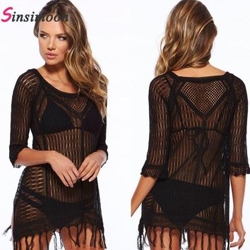 Sexy Fringe Cover Up Lace Embroidered Mesh Cover Ups Short Sleeve Swimsuit Tunic Summer Dress Beach Wear Beach Wear Cardigan