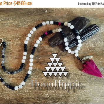 CYBER SALE Tribal Arrowhead Native American inspired necklace, Boho Hippie pendant with Gypsy Punk Flare
