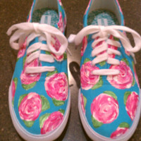 Lilly Pulitzer Inspired Canvas Shoes- Hotty Pink First Impression Pattern